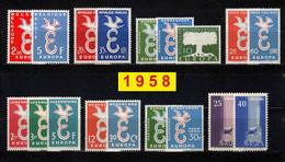 Europa CEPT 1958 Annata COMPLETA 18 Fbolli Nuovi **/MNH - Années Complètes