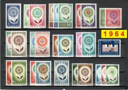 Europa CEPT 1964 Annata COMPLETA 36 Fbolli Nuovi **/MNH - Années Complètes