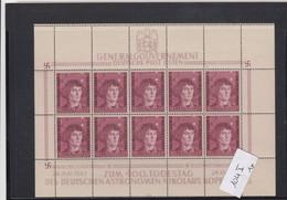 GG Generalgouvernement MiNr. 104 **, Kleinbogen I/3, 1x Plattenfehler, Feld 9 Und Leerfelder - Bezetting 1938-45