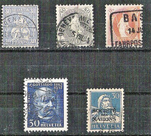 SWITSERLAND 5 Different Stamps A.o. Cancellation FAHRPOST - Sammlungen