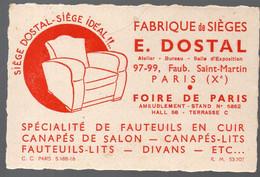 Paris 10e, Fb St Martin  : Carte E DOSTAL Fabrique De Sièges..  (PPP29721) - Publicidad