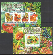 ST1504 2015 S. TOME E PRINCIPE NATURE FAUNA INSECTS PLANTAS CARNIVORAS E SUAS VITIMAS KB+BL MNH - Sonstige