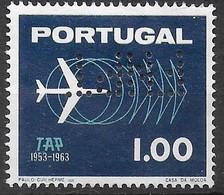 PORTOGALLO - 1963 - 10* TAP - AEREI - 1,00 E - PERFIN (F.N.P.I.) -USATO (YVERT 932 - MICHEL 951) - Used Stamps