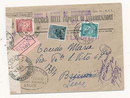 1954 RACCOMANDATA TASSA A CARICO ASOLTA 50 + 25 SEGNATSSE + 5 LIRE SIRACUSANA TURRITA IN USO SEGNATASSE TIMBRO T - 1946-60: Storia Postale