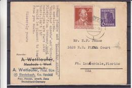 Allemagne - Zone Anglo Américaine - Carte Postale De 1947 - Oblit Hersfeld - Exp Vers Lauterdale USA - Amerikaanse-en Britse Zone
