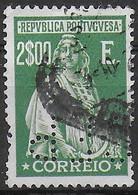 PORTOGALLO - 1917 - CERES - 2,00 E - PERFIN (C.F.P.) -USATO (YVERT 256- MICHEL 247Cx) - Used Stamps