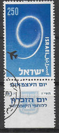 ISRAELE - 1957 - 9° ANNIVERSARIO STATO - USATO CON TAB ( YVERT 119 - MICHEL 143) - Used Stamps (with Tabs)