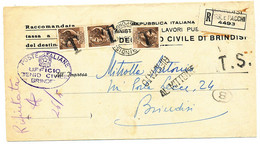 1954 RACCOMANDATA TASSA A CARICO ASSOLTA CON 3X20 LIRE SIRACUSANA TURRITA IN USO SEGNATASSE TIMBRO T - 1946-60: Storia Postale