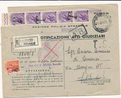 1955 ATTI GIUDIZIARI TASSA A CARICO ASSOLTA CON STRISCIA DI 5 25 LT + 10 LT SIRACUANA TURRITA IN USO SEGNATASSE TIMBRO T - 1946-60: Storia Postale