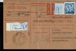 Carte Recepisse Avec N° 926  Obl. BRUGGE 14/05/1960  + Nieuwpoort  Et étiquette De Passage - 1953-1972 Glasses