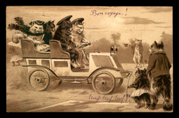 ANIMAUX - CHATS EN VOITURE - CARTE GAUFREE - Gatos