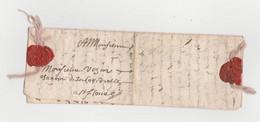 1664 Lettre Fermeture Fil De Soie Rose ( Couleur Rare ) Cire Rouge Armoiries - Sin Clasificación