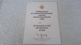 Urkunde In Würdigung Der 40. Unentgeltlichen Blutspende Ehrennadel In Gold Mit Eichenlaub DRK NRW Lippe Abzeichen - Unclassified