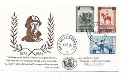 REF4437/ FDC TP 938/940 Albert 1er Roi Chevalier C. Bruxelles-Brussel 17/2/54 Cote 85€ - 1951-60