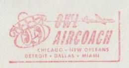 EMA METER STAMP FREISTEMPEL FRANQUEO MECANICO HIBOU CHOUETTE GUFO OWL AIRCOACH USA 1954 ATLANTA - Eulenvögel
