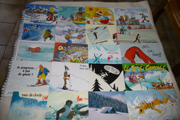 LOT DE 30 CARTES..ILLUSTRATIONS..FANTAISIES...SUR LE THEME DU SKI..DE LA MONTAGNE... - 5 - 99 Postcards