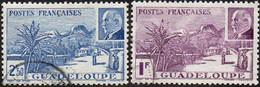 Détail De La Série Maréchal Pétain Obl. Guadeloupe N° 161 Et 162 - La Grande Soufrière - 1941 Série Maréchal Pétain