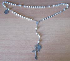 Chapelet Religieux Ancien En Argent (poinçons Crabe) Et Perles Blanches Nacrées - Poids : 17,8g - Religione & Esoterismo