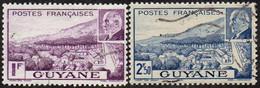 Détail De La Série Maréchal Pétain Obl. Guyane N° 172 Et 173 - Vue De Cayenne - 1941 Série Maréchal Pétain