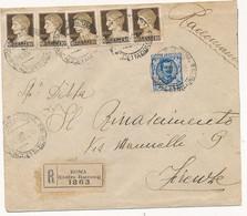 1929 RACCOMANDATA MISTA 1,25 FLOREALE + 5X0,10 IMPERIALE - Marcofilía