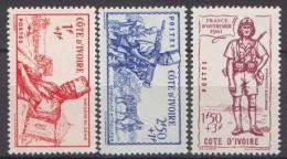 Détail De La Série Défense De L'Empire * Cote D'Ivoire N° 162 à 164 - 1941 Défense De L'Empire