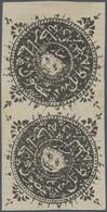 Afghanistan: 1871. 1288 Tiger's Head Issue, Sanar, Plate B, Pos 2+5 In Vertical Pair, Unused, Two Sm - Afghanistan