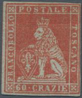 "Italien - Altitalienische Staaten: Toscana: 1852, 60 Crazie Red (""Scarlatto Cupo Su Grigio""), Unused - Toscane"