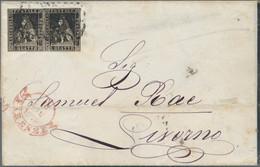 Italien - Altitalienische Staaten: Toscana: 1857 1q. Black Horizontal Pair Used On Folded Mourning C - Toscane