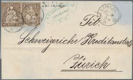 Schweiz: 1863 Ausgabenmischfrankatur Strubel 5 Rp. Mit Sitzender Helvetia 5 Rp., Gebraucht Auf Brief - Covers & Documents