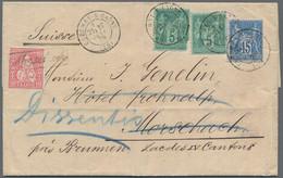 Schweiz: 1867/1879, Frankreich, 2 X 5 C Grün Und 15 C Blau 'Sage' Auf Komplettem Faltbrief Von Crech - Covers & Documents