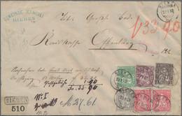 Schweiz: 1881 Sitzende Helvetia 40 Rp. Grau Auf Faserpapier Zusammen Mit 50 Rp. Lila Und 5 Rp. Braun - Covers & Documents