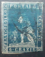 TOSCANA TOSCANE,  Italia 1857  LION , Yvert No 15 , 6 Cr Bleu Obl  B Cote 90 Euros - Toscane