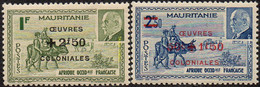 Détail De La Série Maréchal Pétain Surchargés -> Oeuvres Coloniales ** Mauritanie N° 131 Et 132 - 1944 Maréchal Pétain, Surchargés – Œuvres Coloniales