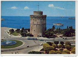 THESSALONIKI - La Tour Blanche, Kreisverkehr, Autobus , Schiffe, Rond Point, Roundabout - Greece