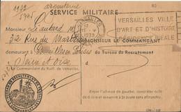 Carte Lettre Du Bureau De Recrutement De Versailles / Demande D ' Exemption Du Service Militaire 1939 - FM-Karten (Militärpost)