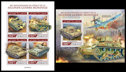 DJIBOUTI 2019 - Beginning Of WW2 - YT 2637-40 + BF486, CV=40 € [DJB190410] - WW2 (II Guerra Mundial)