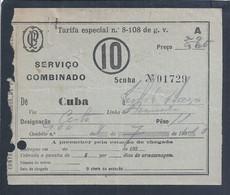 Transport Luggage Receipt In Railways Portugueses. Transport Cuba (Alentejo) To Lisbon In 1931. Caminhos Ferro Portugal. - Unclassified