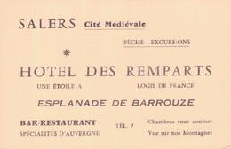 CARTE DE VISITE / SALERS (CANTAL) - HOTEL DES REMPARTS - Visiting Cards