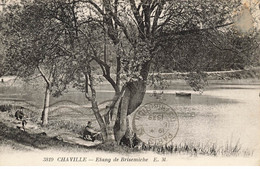 92 CHAVILLE #28321 ETANG DE BRISEMICHE PECHEURS PECHE - Chaville