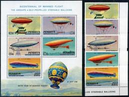 1983 PENRHYN SET MNH ** + BF** Airships Zeppelin Dirigibili - Penrhyn