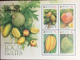Singapore 1993 Bangkok Local Fruits Minisheet MNH - Obst & Früchte