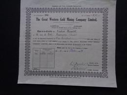 AFRIQUE DU SUD - THE GREAT WESTERN GOLD MINING Co. - TITRE DE 100 ACTIONS DE 5 SHILLINGS - LONDRES 1934 - Zonder Classificatie