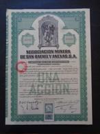 MEXIQUE - MEXICO 1923 - NEGOCIACION MINERA DE SAN RAPAEL - TITRE DE 1 ACTION DE 0,50 £ - TIMBRE FISCAL - Zonder Classificatie