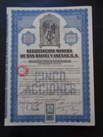 MEXIQUE - MEXICO 1923 - NEGOCIACION MINERA DE SAN RAPAEL - TITRE DE 5 ACTIONS DE 0,50 £ - TIMBRE FISCAL - Zonder Classificatie