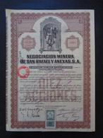 MEXIQUE - MEXICO 1923 - NEGOCIACION MINERA DE SAN RAPAEL - TITRE DE 10 ACTIONS DE 0,50 £ - TIMBRE FISCAL - Zonder Classificatie