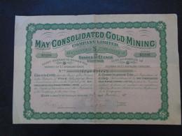 AFRIQUE DU SUD - MAY CONSOLIDATED GOLD MINING - TITRE DE 5 ACTIONS DE 1 £ - LONDRES 1911 - Zonder Classificatie