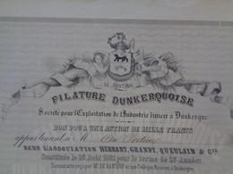 FRANCE - 62 - DUNKERQUE 1861 - FILATURE DUNKERQUOISE - BON POUR 1 ACTION DE 1 000 FRS - PEU COURANT - Zonder Classificatie