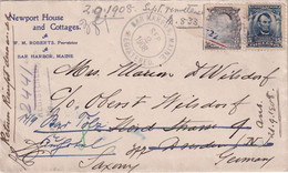 USA 1908 CARTE RECOMMANDEE DE BAR HARBOR AVEC CACHET ARRIVEE - Cartas