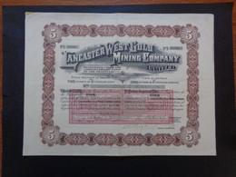 AFRIQUE DU SUD - LANCASTER WEST GOLD MINNING - TITRE DE 5  ACTIONS DE 1 £ - LONDRES 1909 - Zonder Classificatie