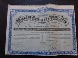ESPAGNE - MADRID 1910 - MINAS DE CASTILL LA VIEJA Y JAEN - OBLIGATION HIPOTHECAIRE DE 500 PESETAS OR - Zonder Classificatie